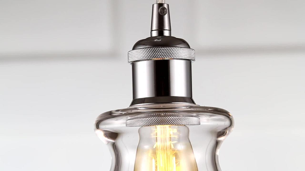 Jonathan Y Goldwater 7 5 In 1 Light Chrome Adjustable Drop Metal Glass Led Pendant Jyl3514b The Home Depot