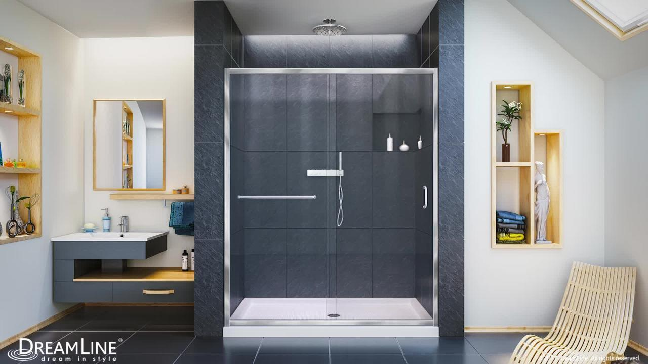 Dreamline Infinity Z 56 To 60 In X 72 In Semi Frameless Sliding Shower Door In Brushed Nickel Shdr 0960720 04 The Home Depot