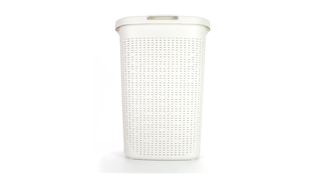 Mind Reader 60 L Ivory Plastic Laundry Basket Hamper With Cutout Handles 60hamp Ivo The Home Depot