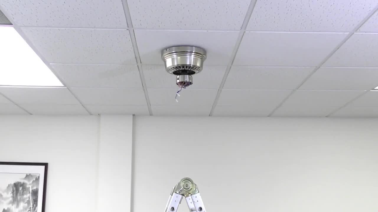 LED Indoor Flush Mount Brushed Nickel Ceiling Fan with Light Kit Hugger 52 in