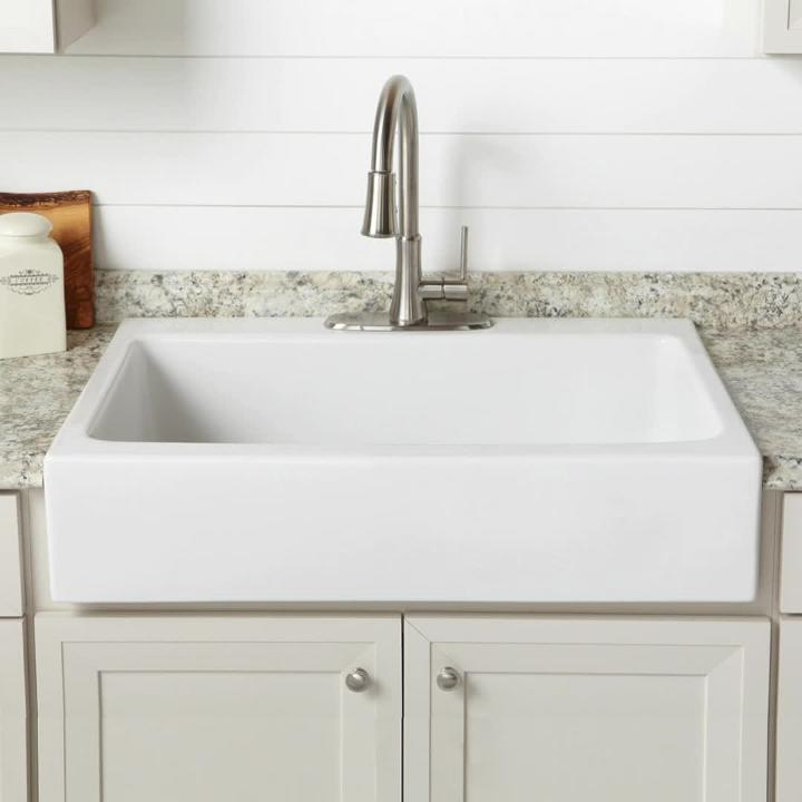 Sinkology Josephine 34 In Fireclay 3 Hole Single Bowl Drop Farmhouse Kitchen Sink Crisp White Sk450 34fc The Home Depot