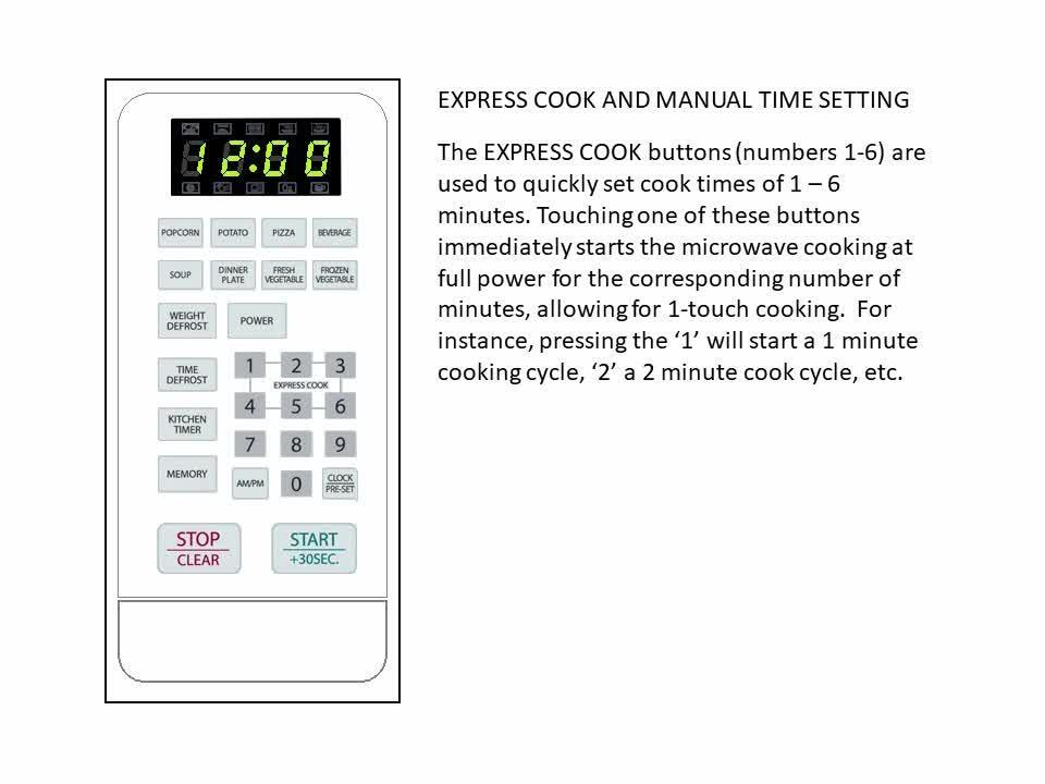 MCM Model Time, Set Express, Set the Microwave Control Panel