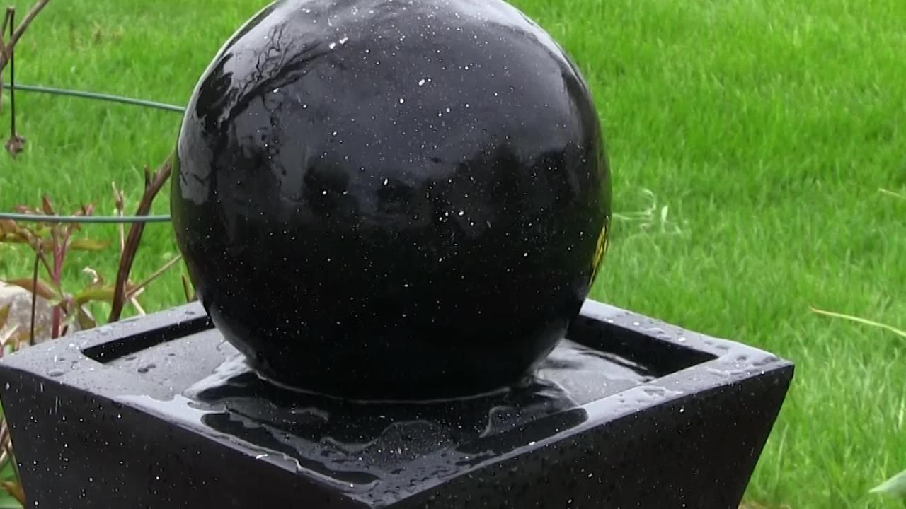 """Sunnydaze Black Ball Solar Outdoor Water Fountain with Battery 30/"""" w// LED Light"""