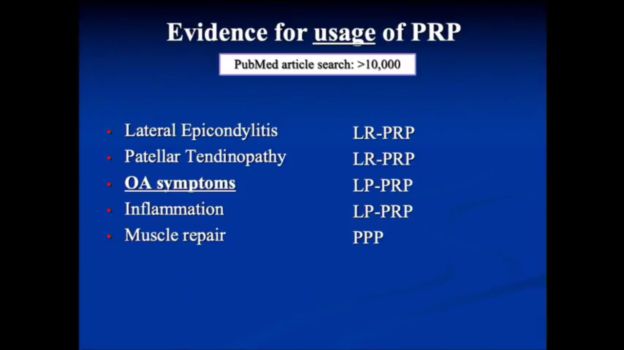 VIDEO: Presenter discusses the use of PRP in patients with osteoarthritis