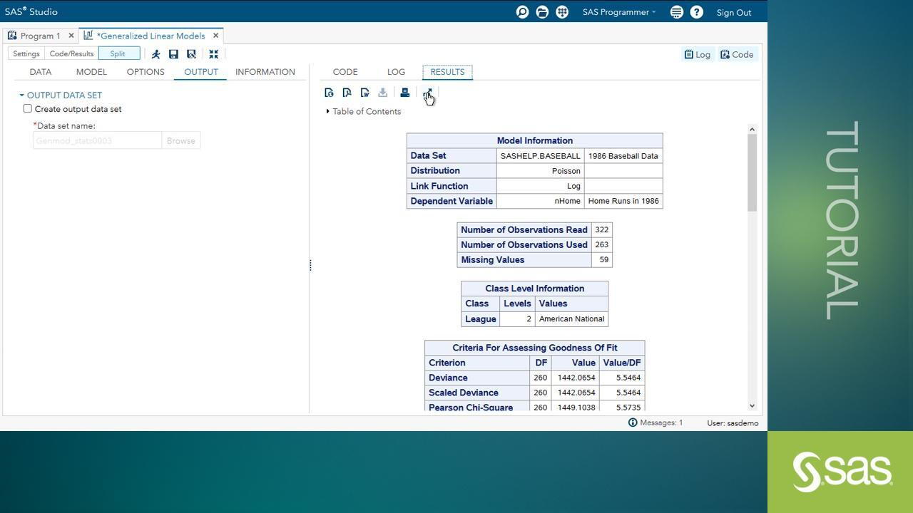 The Generalized Linear Models Task in SAS® Studio