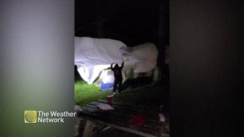 WHEN A STORM TRIES TO BLOW AWAY YOUR CAMPSITE, SOMETIMES YOU JUST HAVE TO LAUGH