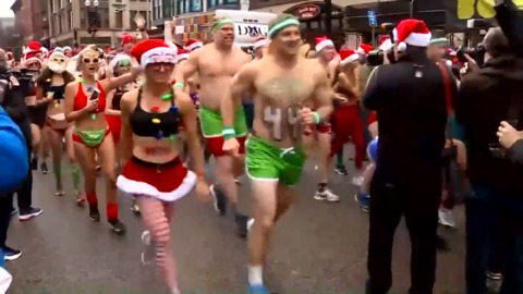 THAT LOOKS COLD: 'SANTA SPEEDO RUN' CELEBRATES 20 YEARS