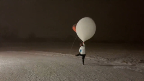 RELEASING A WEATHER BALLOON DURING A BLIZZARD IS NOT AN EASY JOB