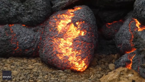 MESMERIZING 'LAVA EGG' OOZES OUT FROM THE ICELAND VOLCANO