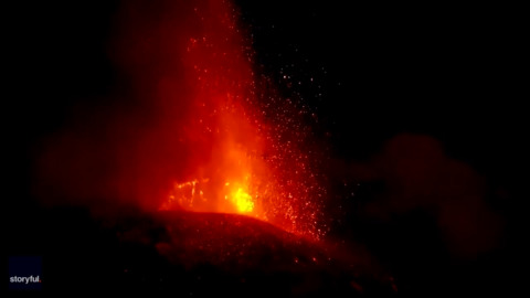 HEAR THE ROAR AND SEE THE GLOW OF LAVA SPEWING FROM MOUNT ETNA