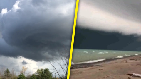 POWERFUL BAND OF STORMS SHROUDS S. ONTARIO IN DARK, FOREBODING CLOUDS