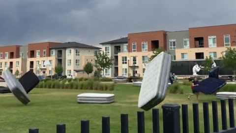 STORM CAUSES MATTRESS MIGRATION MAYHEM