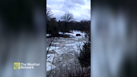 LISTEN TO THE DESTRUCTIVE SOUND OF ICE FLOWING DOWN THE RIVER