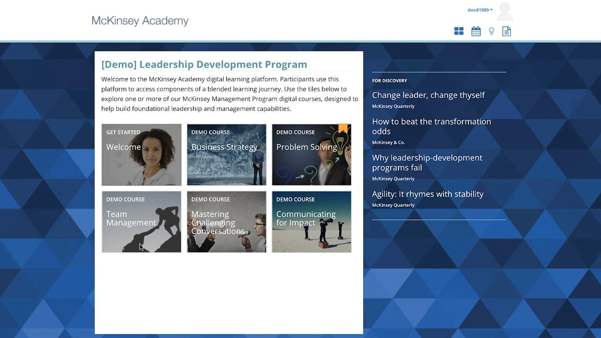 McKinsey Academy Technology Platform | Learning Programs for