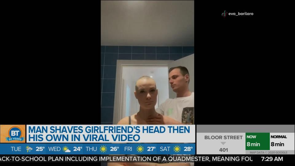 BT Bright Spot: Man shaves his girlfriend's head…then does his own.
