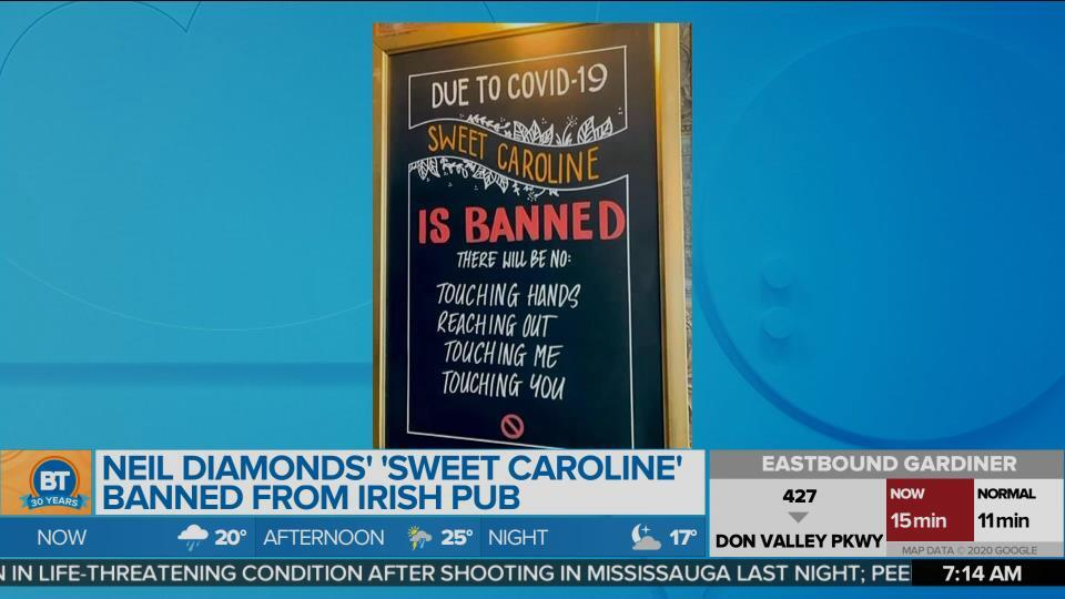 Neil Diamond's 'Sweet Caroline' banned from Irish Pub
