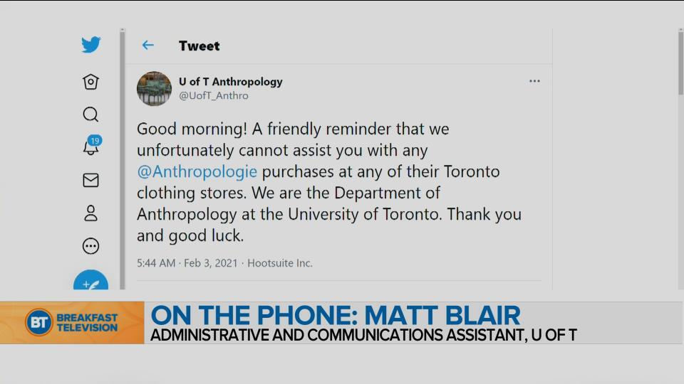 BT Bright Spot: The UofT Anthropology Department Gets Mistaken for Anthropologie the Store All the Time