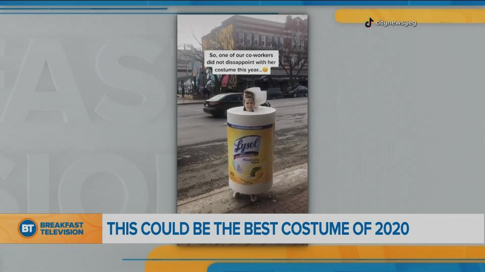 BT Bright Spot: Our colleague dressed up as Lysol wipes for Halloween
