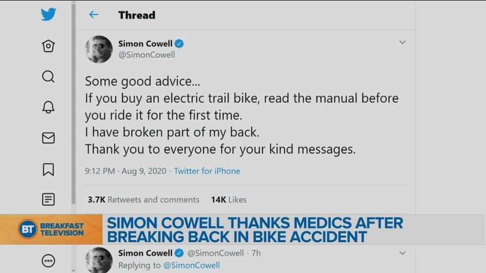 Simon Cowell thanks medics after breaking back in bike accident