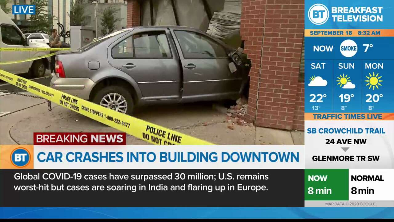 On Location: Car Crashed into Building Downtown