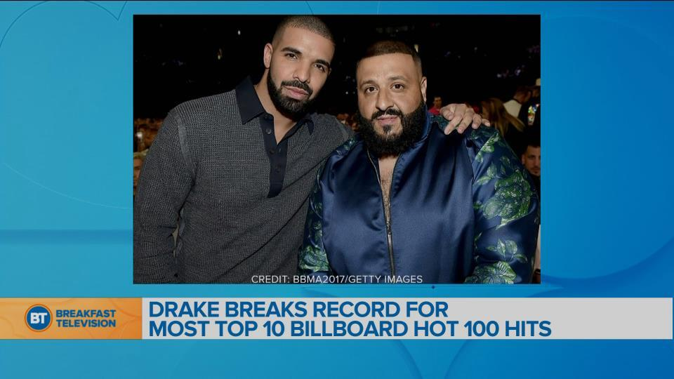 Drake breaks record for most top 10 Billboard Hot 100 hits