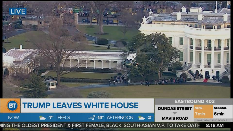 A Live Look at Donald Trump Leaving The White House