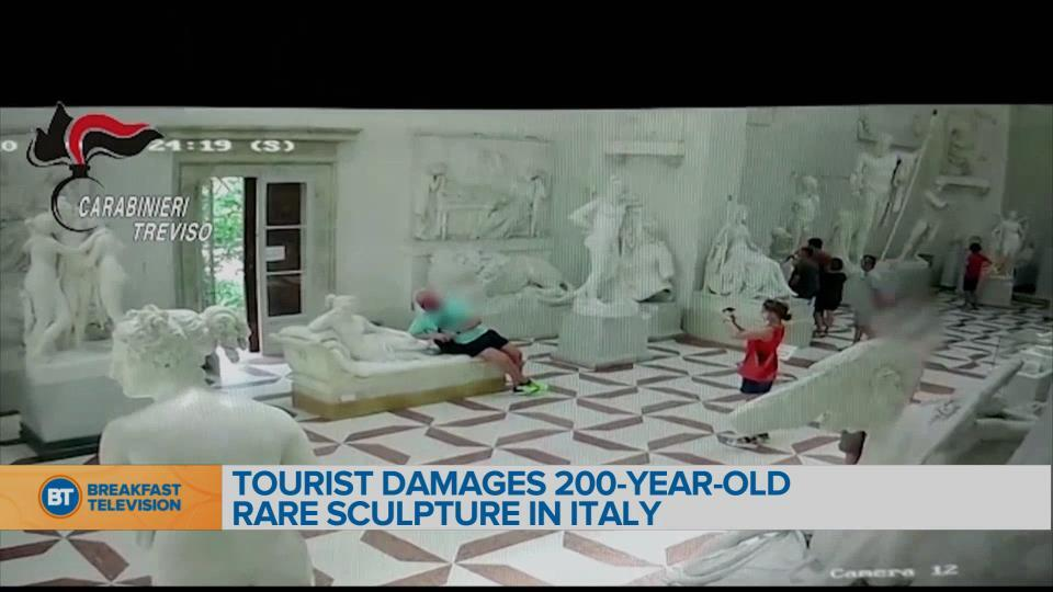 Tourist accidentally breaks 200-year-old statue