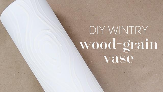 DIY Wintry Wood-Grain Vase