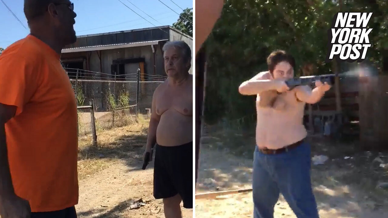 c62e46505dc1 Video purportedly shows shirtless dad and son fatally shoot neighbor