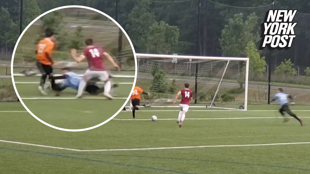 Goalie's mind-blowing slide saves the day