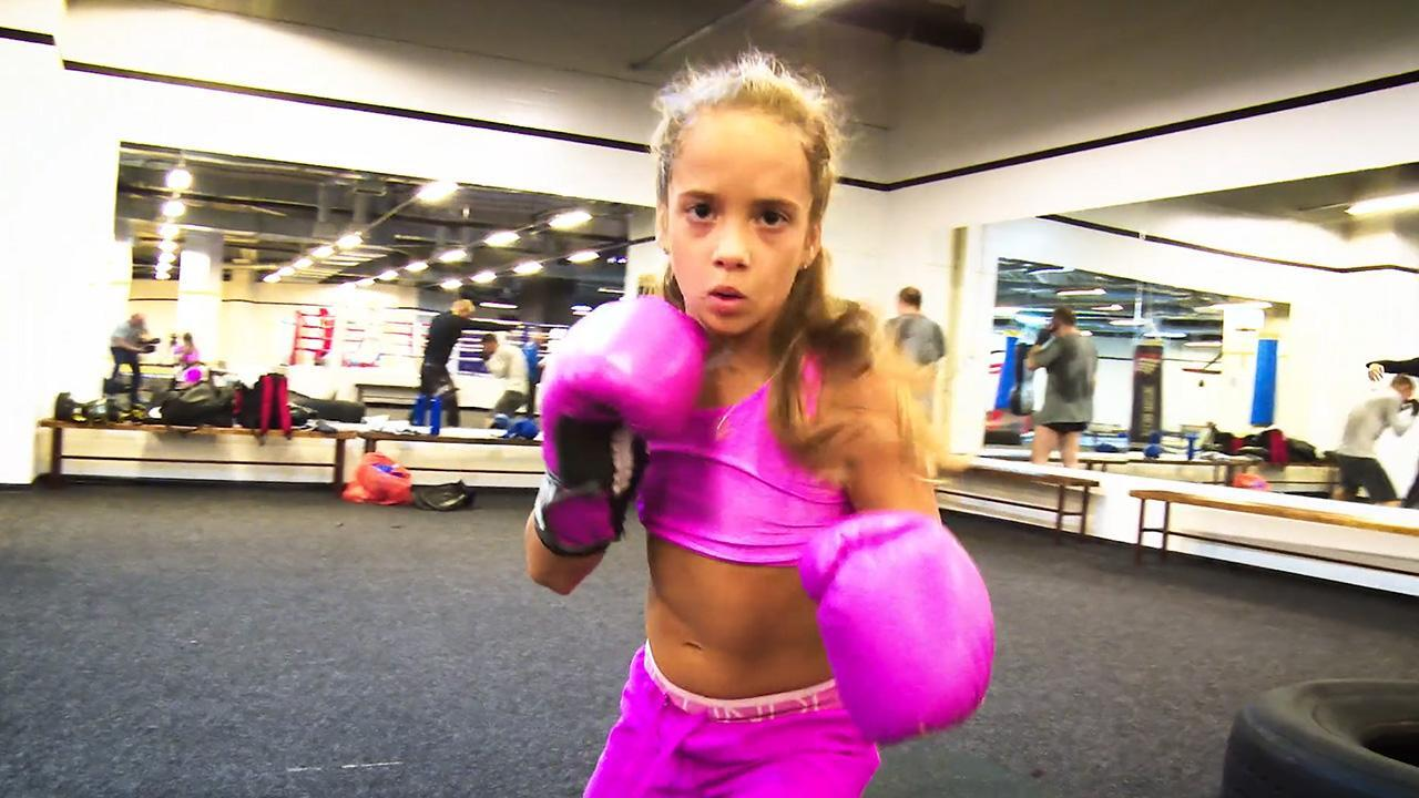 3350c765e Video  9-year-old  Pink Panther  boxing girl packs a mean punch ...