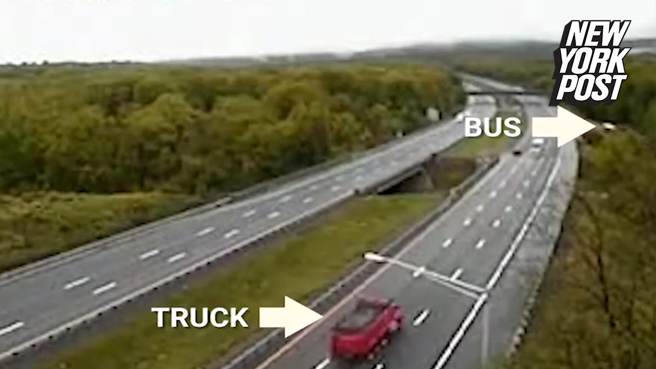 Video of fatal school bus crash shows driver cross 3 lanes