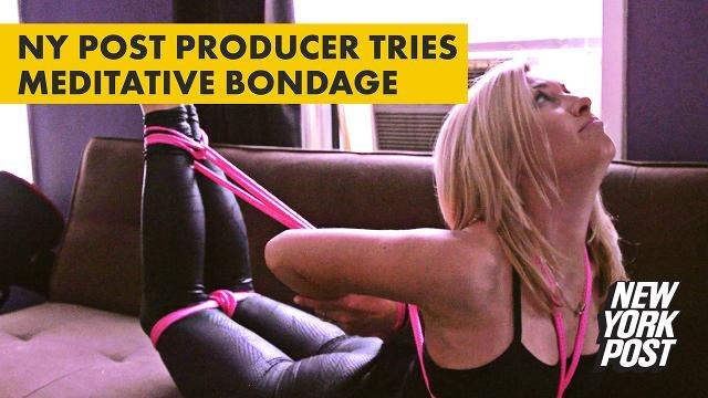 Bondage ropes hogtying a young lady that interfere