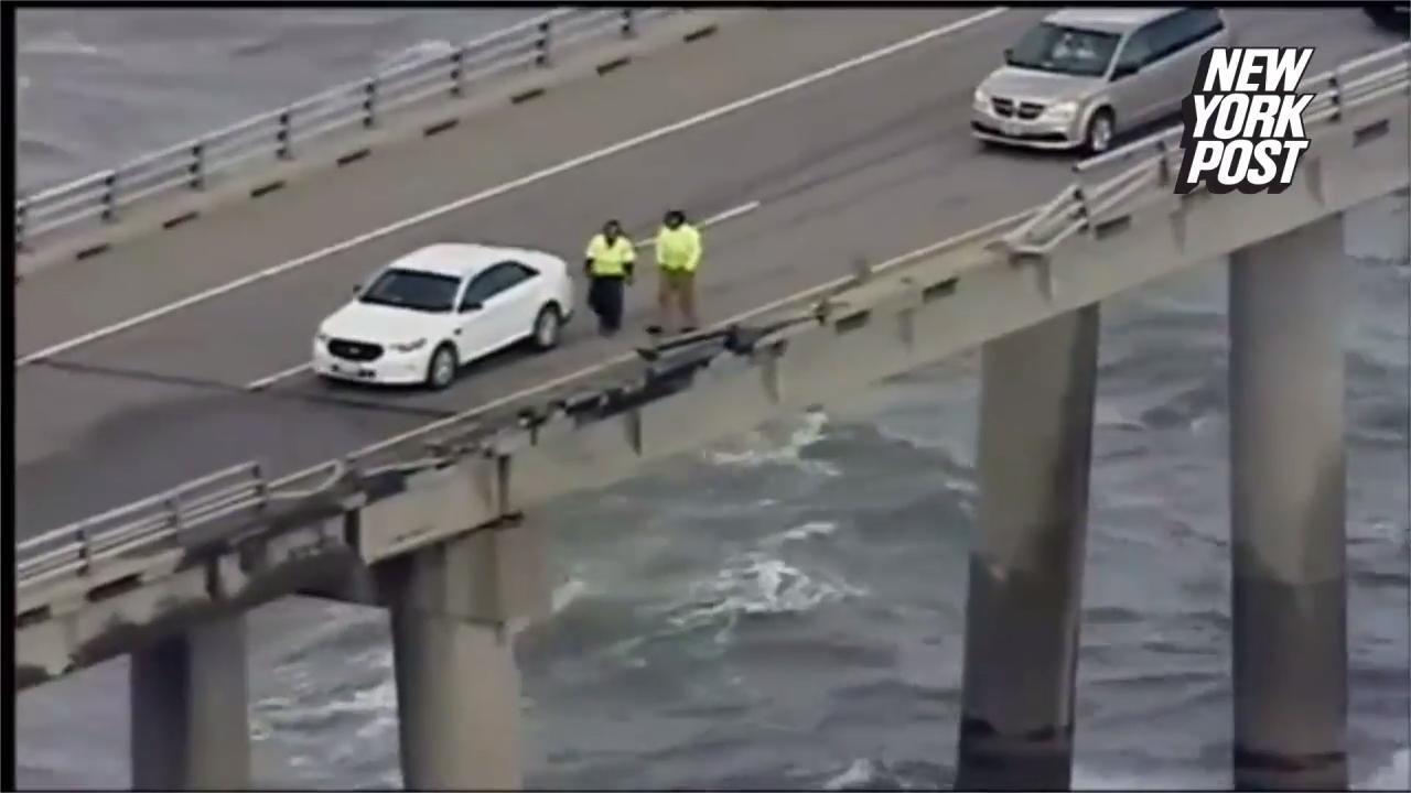 Driver dies after tractor-trailer blows off bridge