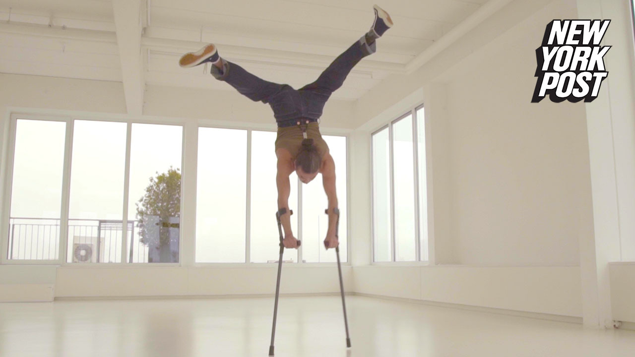 Breakdancer on crutches shows off his incredible moves