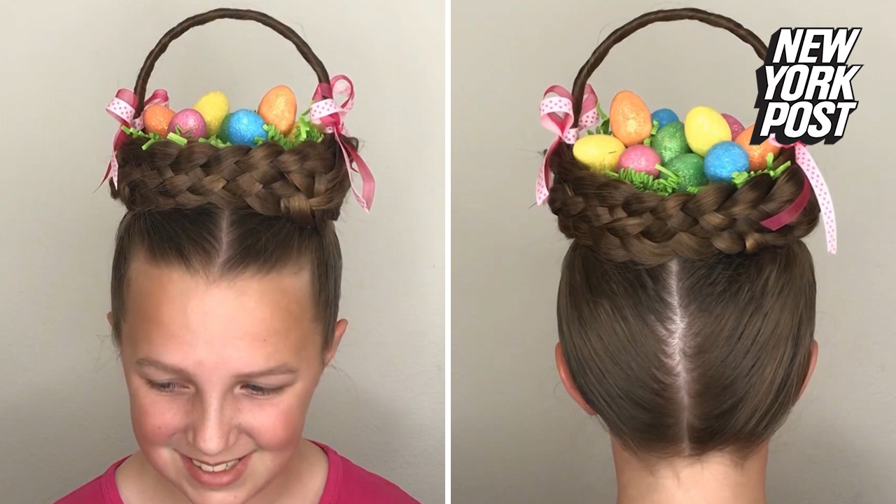 Turn your head into an Easter basket with this cute hairstyle