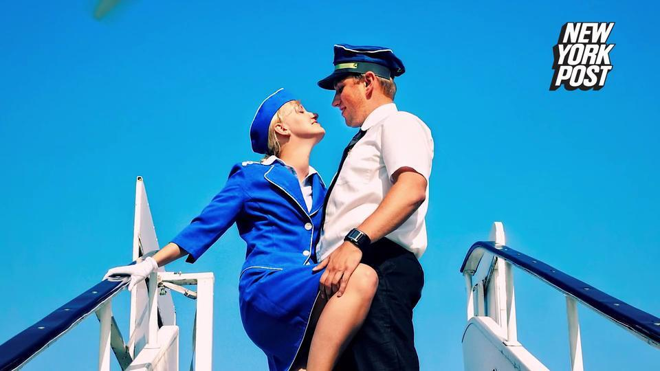 Pilot and stewardess having sex