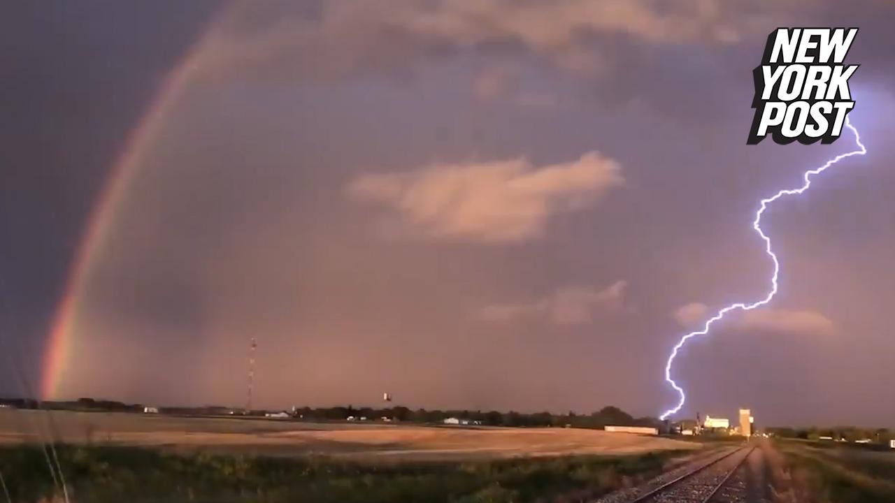 Rainbow lightning caught on camera in stunning display