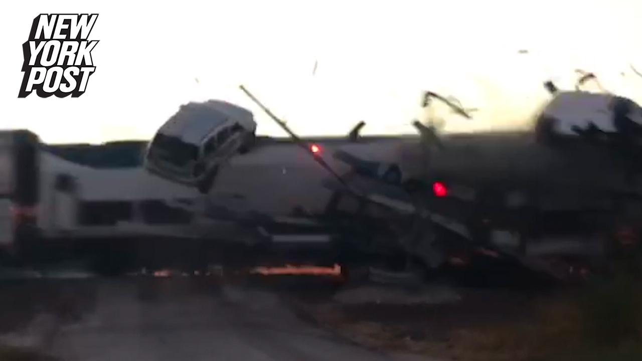 Train crash sends vehicles flying in Oklahoma