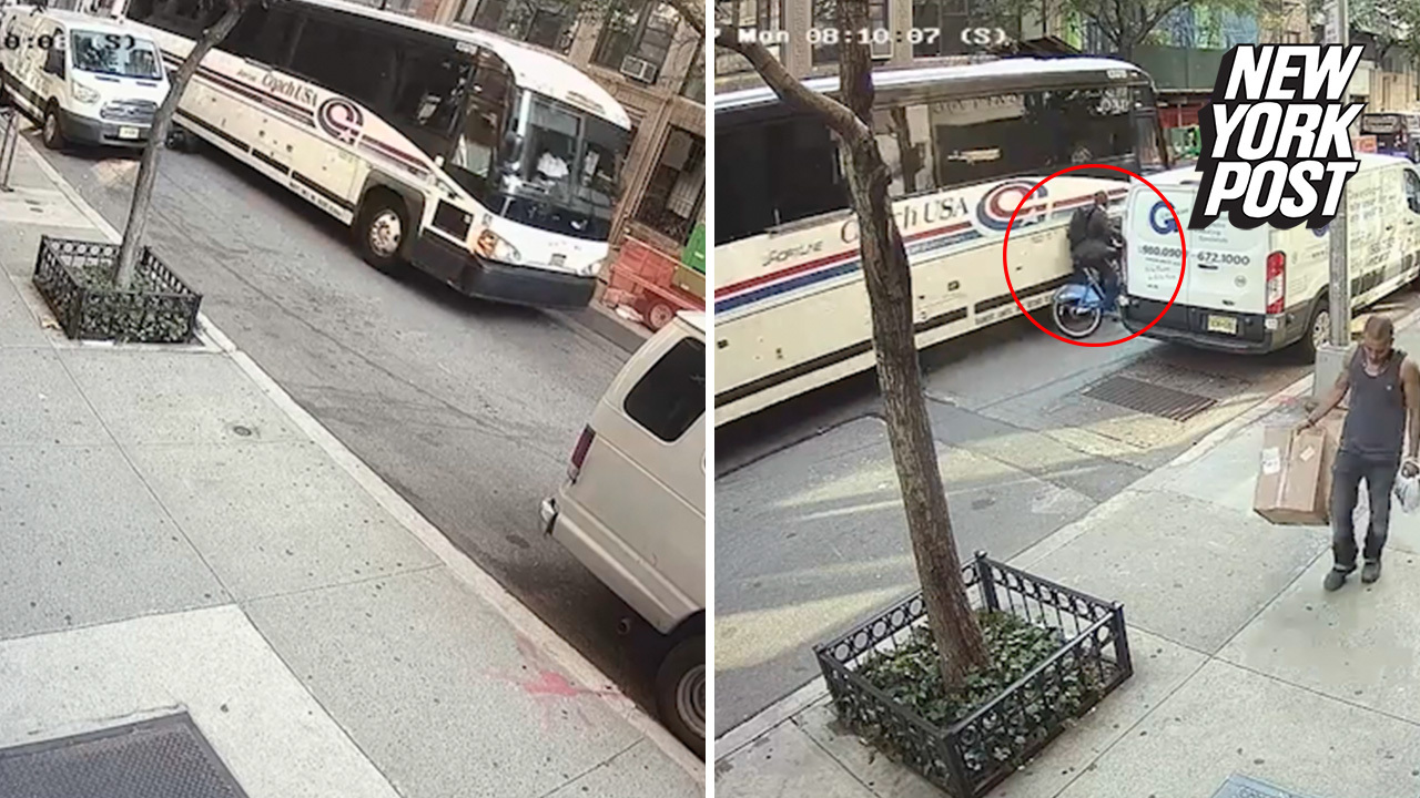 Tragic moment a Coach bus fatally crushes Citi Bike cyclist