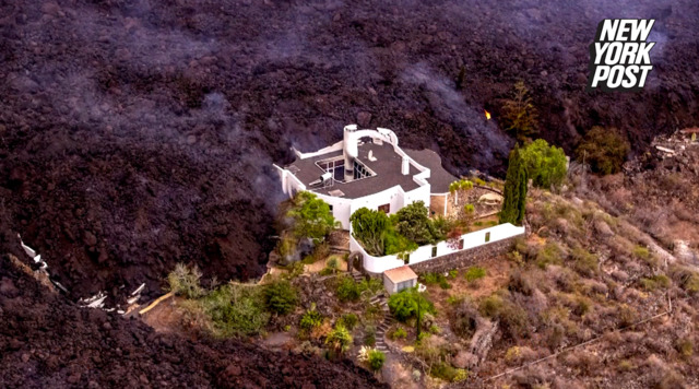 'Miracle house' sits pretty amid volcanic lava in Spain