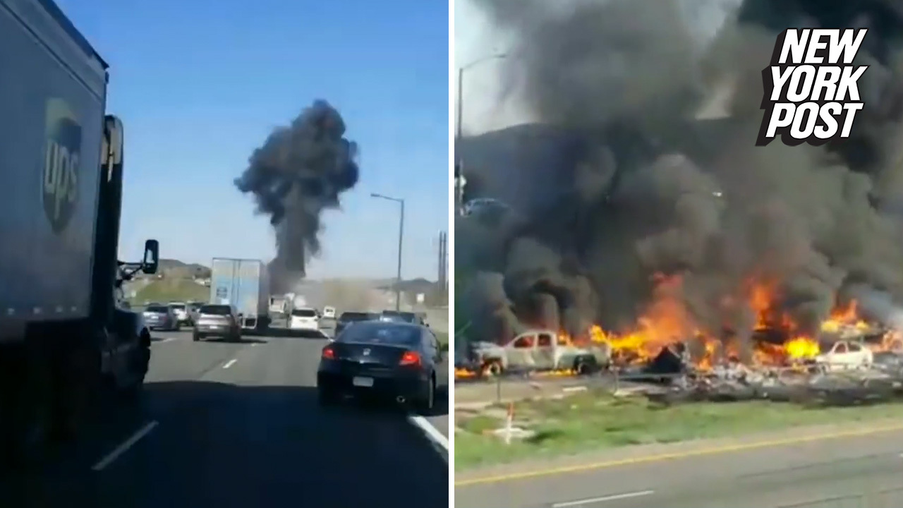 Youtuber captures horrifying moment tractor-trailer sparks deadly  15-vehicle crash