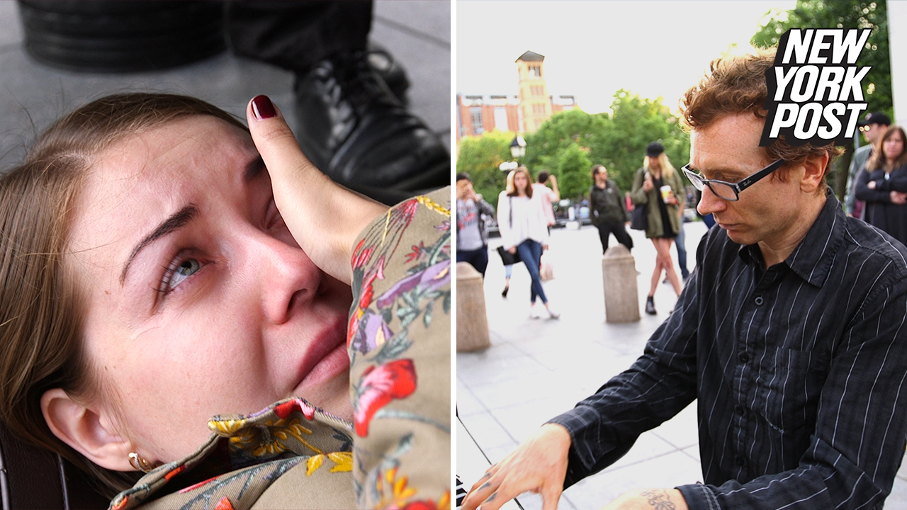 Piano-playing busker brings his audience to tears