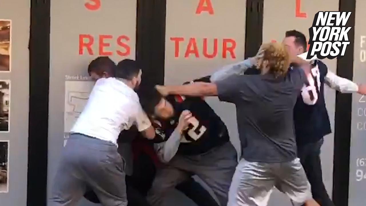 5556a5774 Video  Fans brawl at Patriots Super Bowl 53 parade