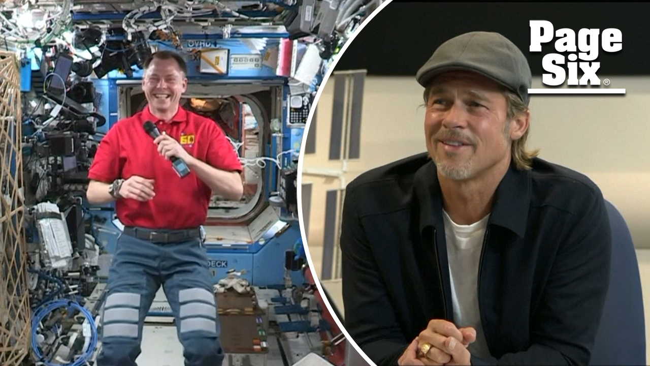 Brad Pitt chats with astronaut about George Clooney