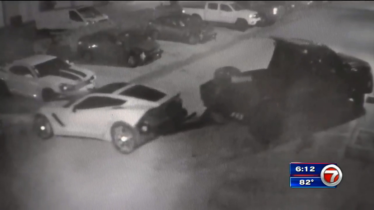 Thieves caught on camera stealing Corvette from Davie body