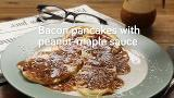 Bacon pancakes with peanut maple sauce
