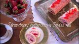 Strawberry buttercream Swiss roll