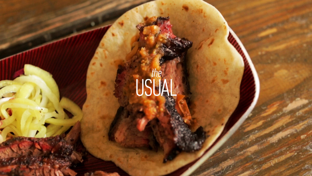 Flippin' Good Smoked Brisket Tacos with Chef Aaron Franklin | The Usual