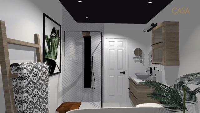 Une salle de bain qui mélange le bois, le blanc et le noir